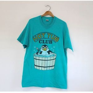 Vintage Hot Tub Club Penguin T Shirt
